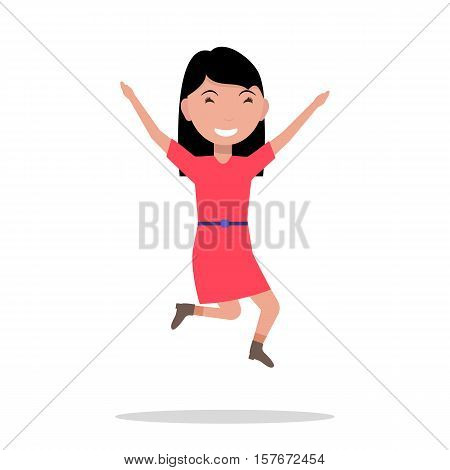 Vector illustration of a cartoon girl jumping of happiness. Picture isolated on white background. Flat style. Joyful fun bouncing female child. Teenager leaping for joy. Happiness emotion.