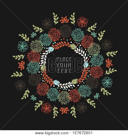 Abstract Floral Design With Flowers And Leaves With Place For Text