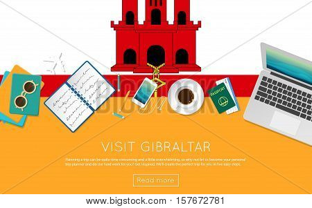 Visit Gibraltar Concept For Your Web Banner Or Print Materials. Top View Of A Laptop, Sunglasses And