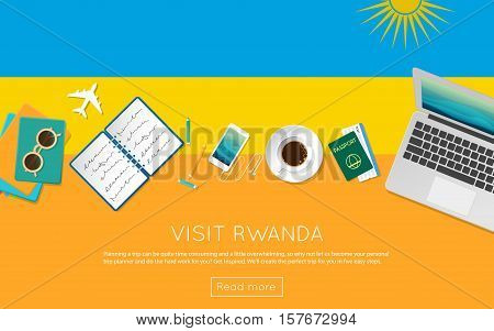 Visit Rwanda Concept For Your Web Banner Or Print Materials. Top View Of A Laptop, Sunglasses And Co