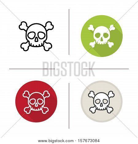 Skull with crossbones icon. Flat design, linear and color styles. Death symbol. Poison warning sign. Isolated vector illustrations
