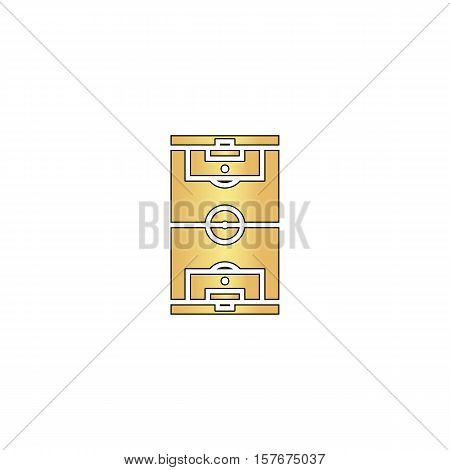 football field Gold vector icon with black contour line. Flat computer symbol