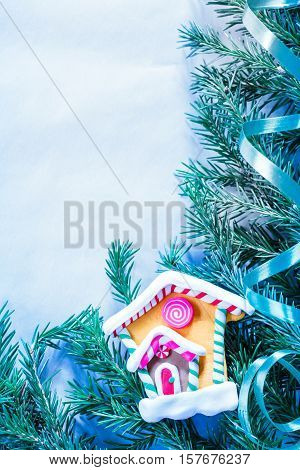 Christmas Background With Firtree Branch And House