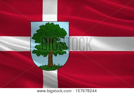 Flag of City Hillerod is located in the north of the island of Zealand north of Copenhagen. The administrative center of the commune and the chief town Hillared Danish region Hovedstaden. 3d illustration