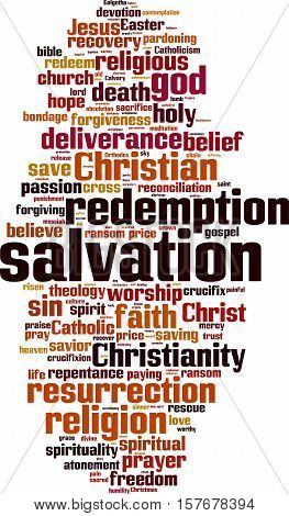 Salvation word cloud concept. Vector illustration on white