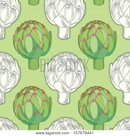Vector seamless pattern with outline head of Artichoke or Cynara on the green background. Hand drawn organic elements. Vegetable culture in contour style for organic design.