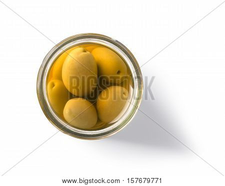 Green olive jar bottle isolated on white background with clipping path