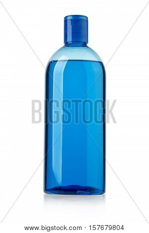 Blue shampoo bottle isolated on white with clipping path