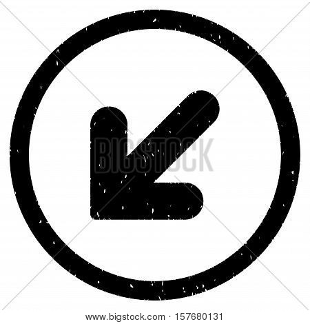 Arrow Down Left rubber seal stamp watermark. Icon vector symbol with grunge design and corrosion texture. Scratched black ink sticker on a white background.