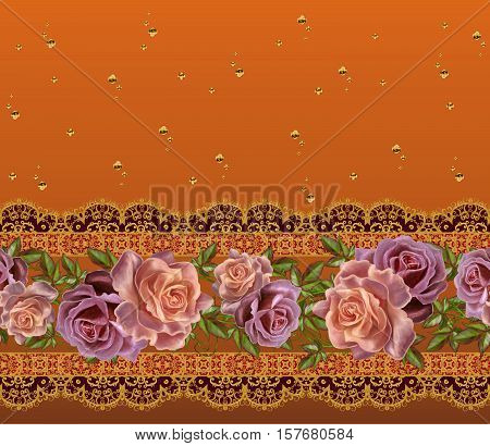 Horizontal floral border. Pattern seamless. Flower Arrangement pastel roses gold braiding lace brown background with stripes.