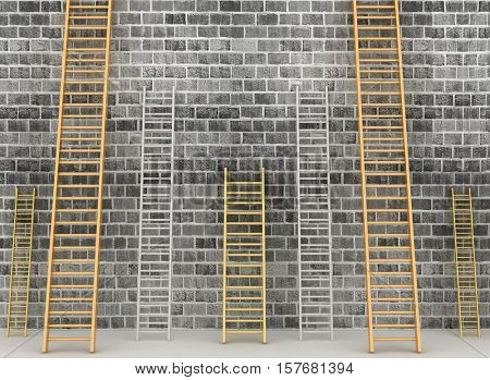 3d illustration. Ladders against brick old wall