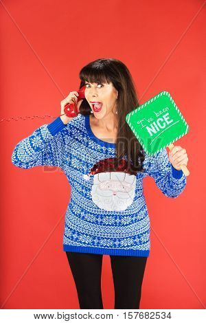 Excited Woman On Phone With Nice Sign