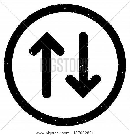 Flip rubber seal stamp watermark. Icon vector symbol with grunge design and dust texture. Scratched black ink sticker on a white background.