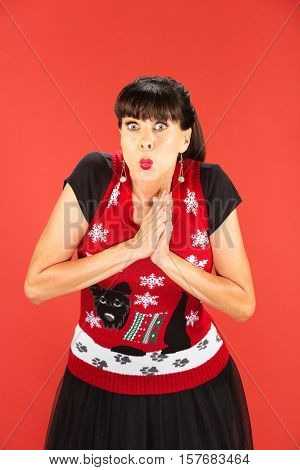 Enthusiastic Woman With Palms Together