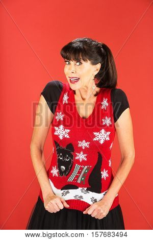Cute Adult Female In Ugly Christmas Sweater