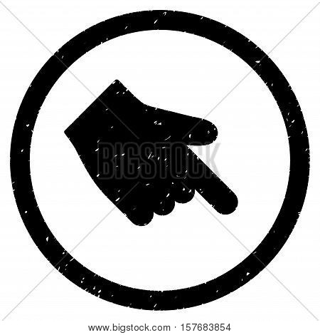 Index Finger Right Down Direction rubber seal stamp watermark. Icon vector symbol with grunge design and unclean texture. Scratched black ink emblem on a white background.