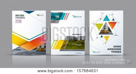Business vector set. Brochure template layout, cover design annual report, flyer in A4 with colourful triangles, arrows for business, finance, buildings, nature concept. Abstract creative design.