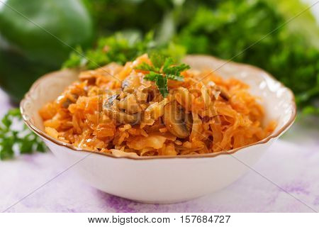 Braised Stewed Cabbage With Mushrooms In Tomato Sauce