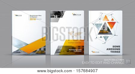 Business vector set. Brochure template layout, cover design annual report, flyer in A4 with orange triangles, arrows for business, finance, buildings, nature concept. Abstract creative design.