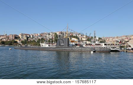 ISTANBUL TURKEY - SEPTEMBER 14 2016: Ship and Submarine in Rahmi M. Koc Industrial Museum. Koc museum is Industrial Museum dedicated to history of transport industry and communications