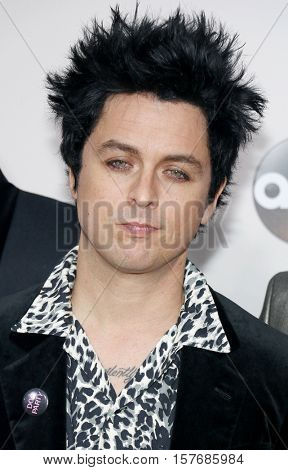 Billie Joe Armstrong of Green Day at the 2016 American Music Awards held at the Microsoft Theater in Los Angeles, USA on November 20, 2016.