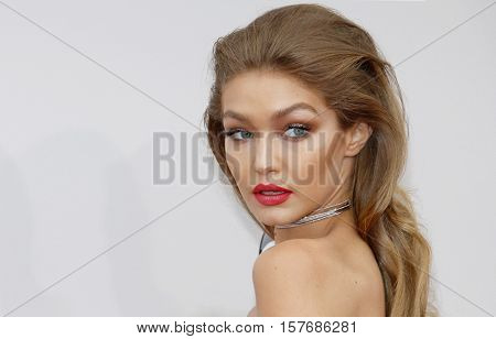 Gigi Hadid at the 2016 American Music Awards held at the Microsoft Theater in Los Angeles, USA on November 20, 2016.