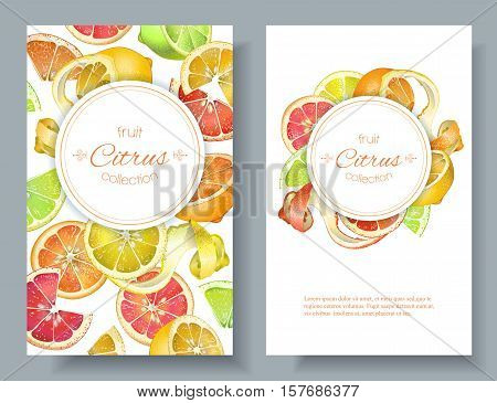 Vector citrus vertical banners. Design for juice, tea, ice cream, lemonade, jam, natural cosmetics, sweets and pastries filled with citrus, dessert menu, health care products. With place for text
