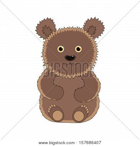 Little funny brown bear vector illustration. Hand-drawn illustration.