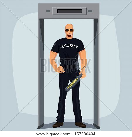 Security Guard With Metal Detector