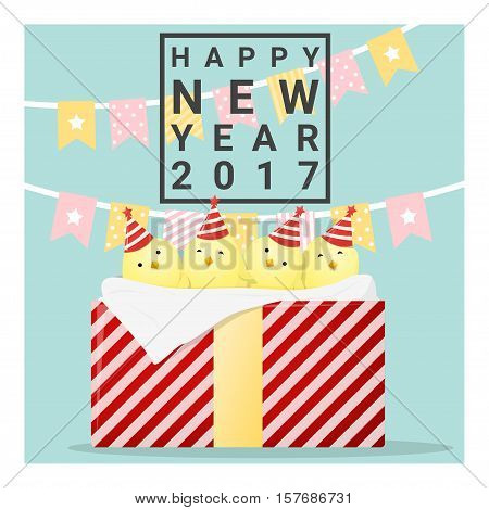 Happy new year 2017 card with chicken , animal new year of 2017 , vector, illustration