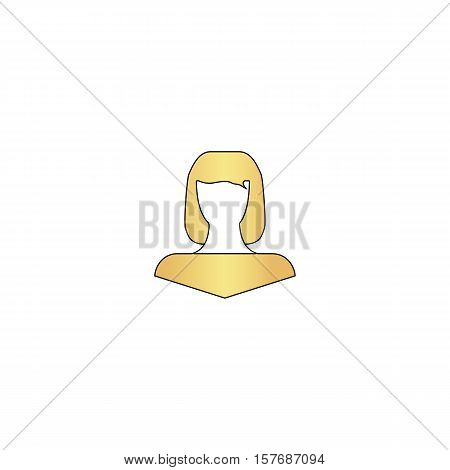 Girl head Gold vector icon with black contour line. Flat computer symbol