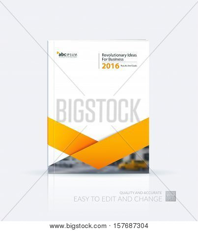Business vector. Brochure template layout, cover design annual report, flyer in A4 with yellow triangles, arrows for business, finance, buildings, nature concept. Abstract creative design.
