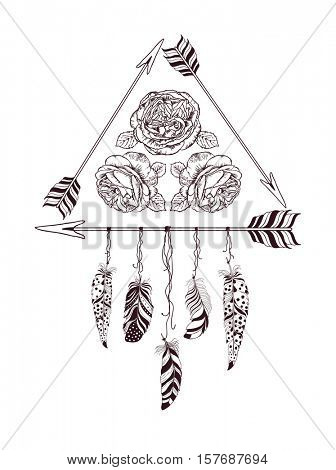 Hand drawn boho style design with rose flower, arrow and feathers. Hippie fashion decoration for t-shirt or tattoo.