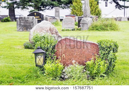 Marble gravestone in norwegian cemetery close view