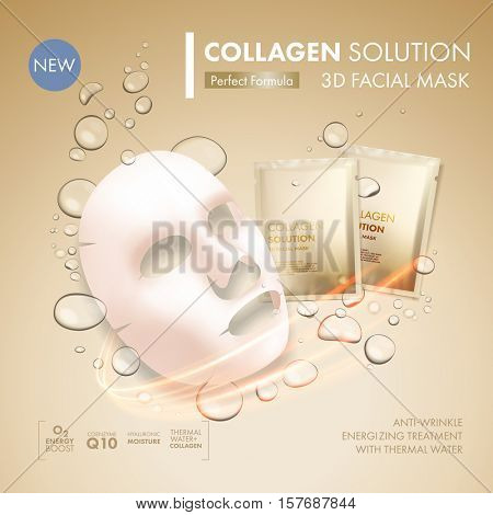 Facial mask sheet with gold collagen sachet on golden water oil bubble background. Skincare collagen hydration moisturizer. Face skincare premium ad design template. Vector beauty concept. poster