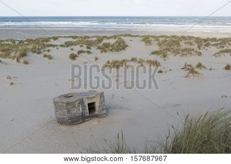 Old German bunker on the island of Terschelling in the Netherlands part of the Atlantic Wall a more than 5000 kilometres long line of defence which nazi Germany during the second world war in the occupied territories has laid out to prevent an Allied inva
