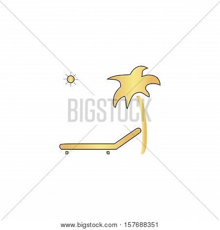 Deck chair Gold vector icon with black contour line. Flat computer symbol