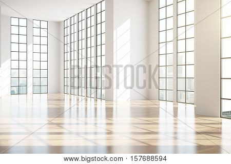 Modern unfurnished interior with shiny wooden floor framed windows and city view. Side view 3D Rendering
