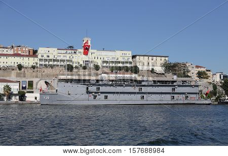 ISTANBUL TURKEY - SEPTEMBER 14 2016: Navy hospital ship in front of Navy hospital of Istanbul.
