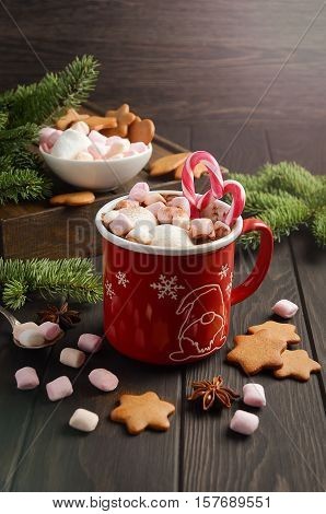 Hot chocolate with marshmallows and candy canes on dark wooden background. Holiday concept, bright shiny background, selective focus, vertical with copy space.