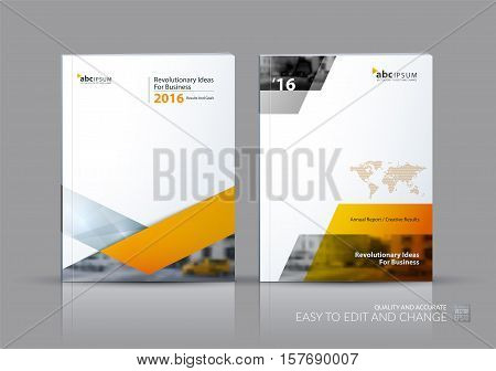 Business vector set. Brochure template layout, cover design annual report, flyer in A4 with yellow triangles, arrows for business, finance, buildings, nature concept. Abstract creative design.