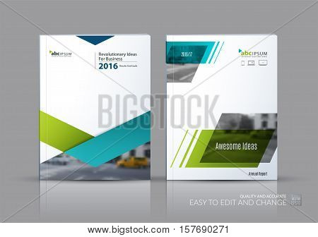 Business vector set. Brochure template layout, cover design annual report, flyer in A4 with blue triangles, arrows for business, finance, buildings, nature concept. Abstract creative design.