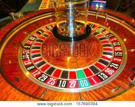 Las Vegas, United States of America - May 06, 2016: The table for card game roulette in the Fremont Casino at Las Vegas, United States of America on May 06, 2016