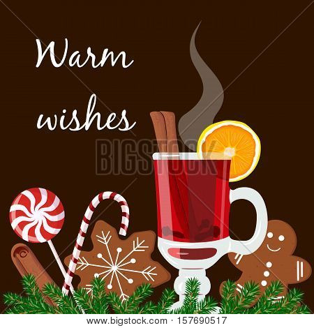 Warm wishes postcard. Mulled wine, gingerbread man, candy cane, lolly pop, fir tree twig, zest, nutmeg, star anise, sugar, cinnamon citrus cardamom ginger Black background