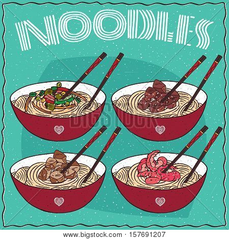 Set Of Four Chinese Noodles Ramen Or Udon