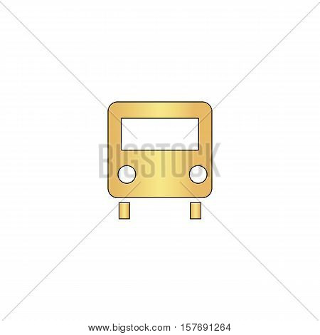 Bus Gold vector icon with black contour line. Flat computer symbol
