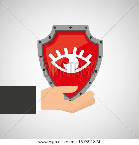 hand holding eye shield protection data vector illustration eps 10
