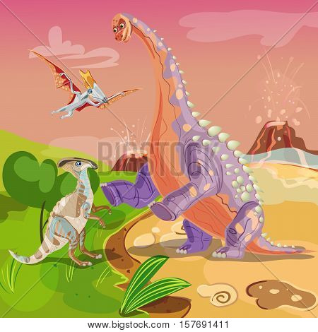 Beasts jurassic design with dinosaurs and flying ancient bird on erupting volcano background vector illustration