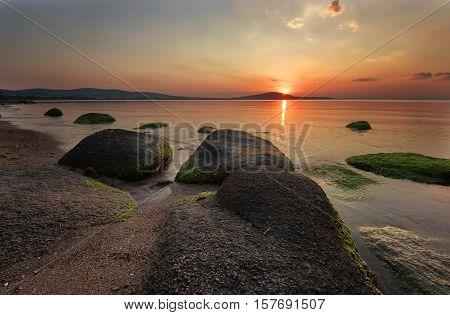 Beautiful summer sunset over the sea, near Chernomorets, Bulgaria