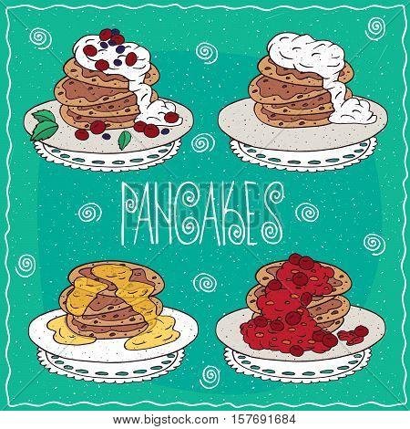 Set Of Pancakes In Handmade Cartoon Style